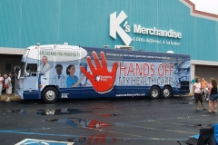 Hands Off My Health Care tour bus