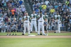 Tincaps during the National Anthem