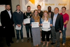 Zach Benedict and Ron Menze with scholarship winners