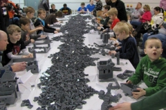 Kids building in a free build area