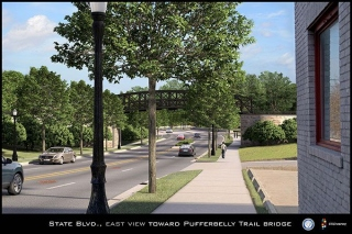 Eastview on State Boulevard toward the Pufferbelly overpass