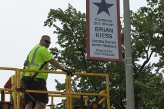 Installing the Blue Star Banner for Sgt. Major Kiess