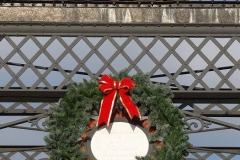 The historic Wells Street Bridge decorated for Christmas