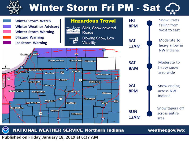 National Weather Service weather story image for January 18, 2019