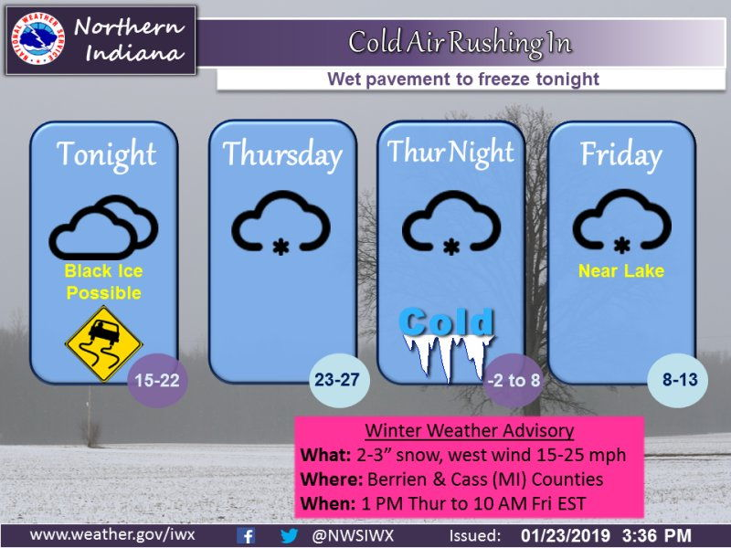 National Weather Service weather story image for January 23, 2019
