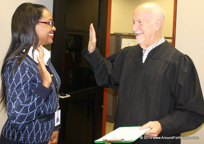 City Clerk-elect Michelle Chambers and Judge Stanley Levine