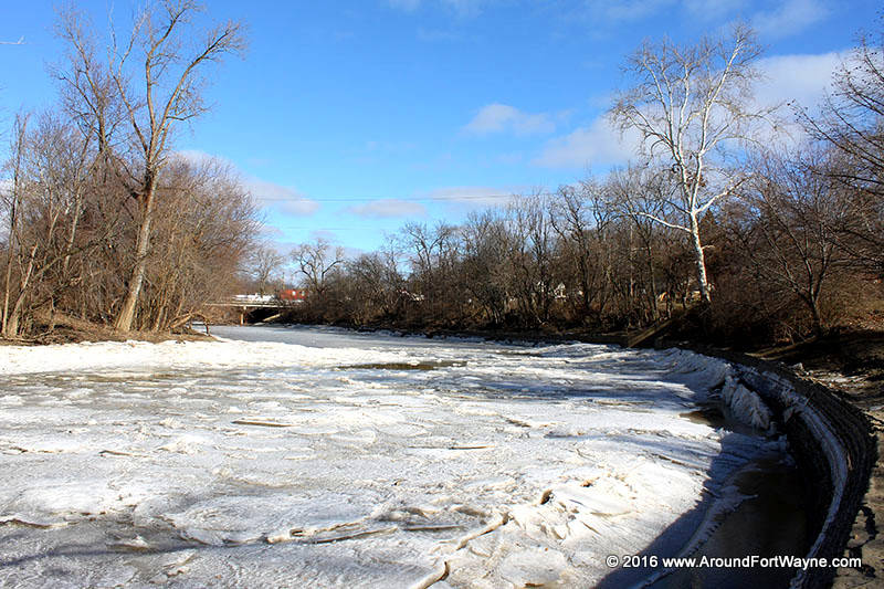 The frozen St. Marys River in Foster Park on January 29, 2016.