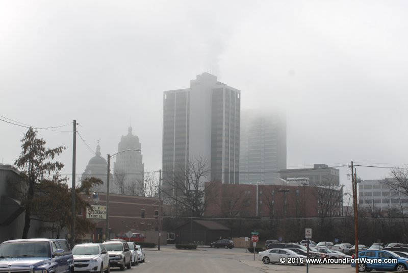 Downtown Fort Wayne Indiana on a foggy morning.