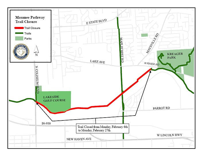 20170202 Maumee Pathway Trail Closure map