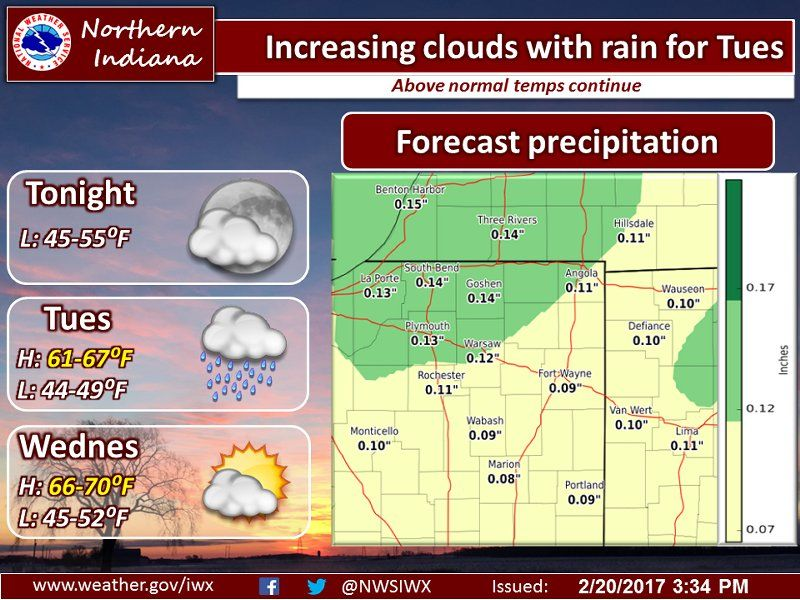 Tonight's NWS Weather Story for February 20, 2017.