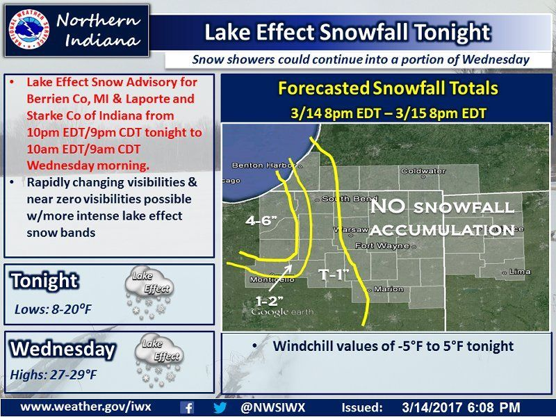 Tonight's NWS Weather Story for March 14, 2017.