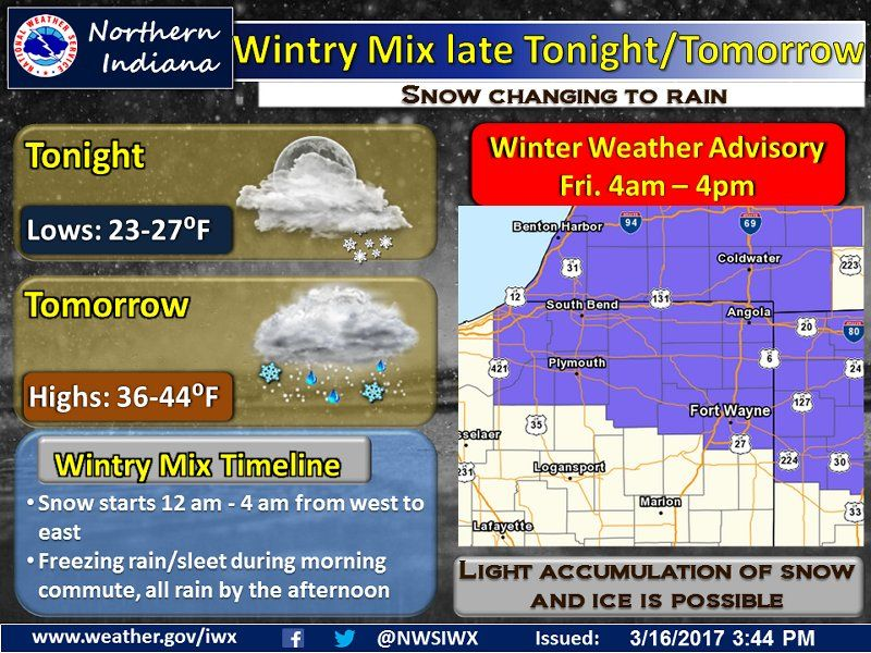Tonight's NWS Weather Story for March 16, 2017.